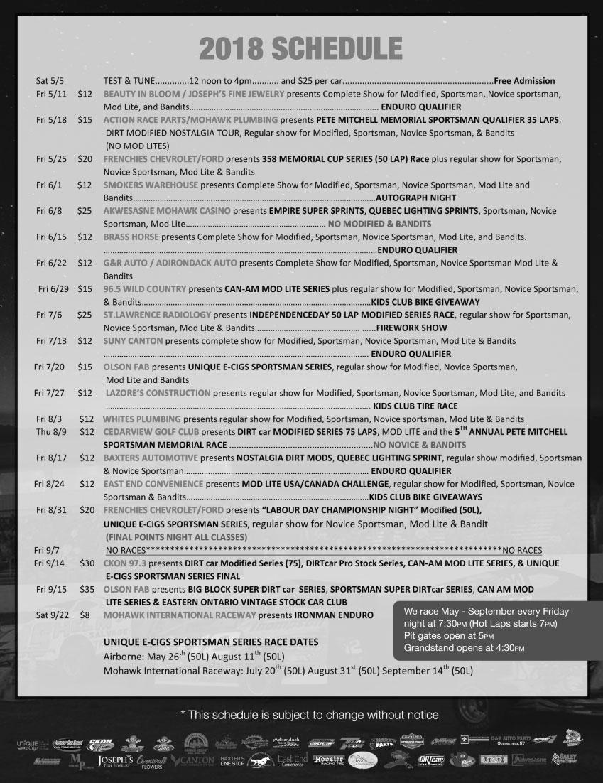 Mohawk Horse Racing Schedule